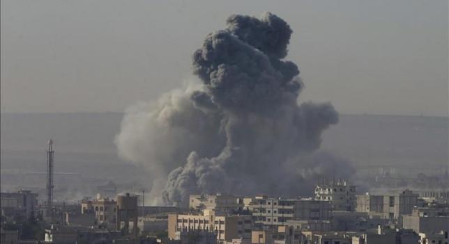 Bombardeo en territorio ocupado por EI. Foto EFE