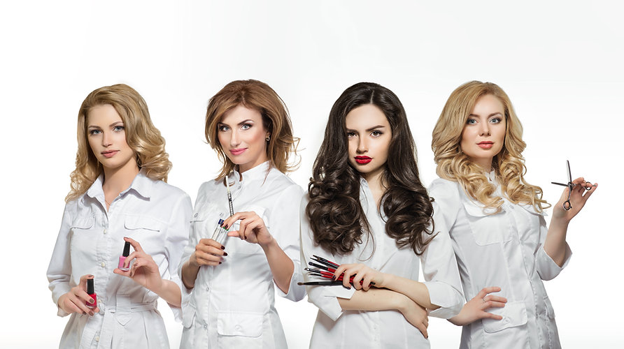 Beauty salon workers with professional t