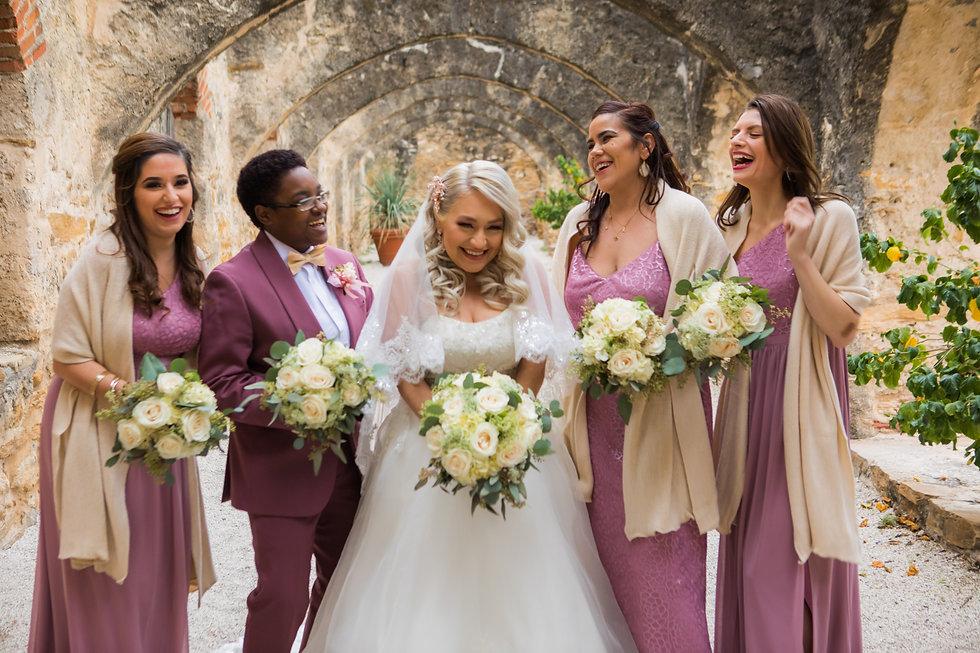 Bridesmaids at Mission San Jose San Antonio Texas Wedding San Antonio Wedding Planner