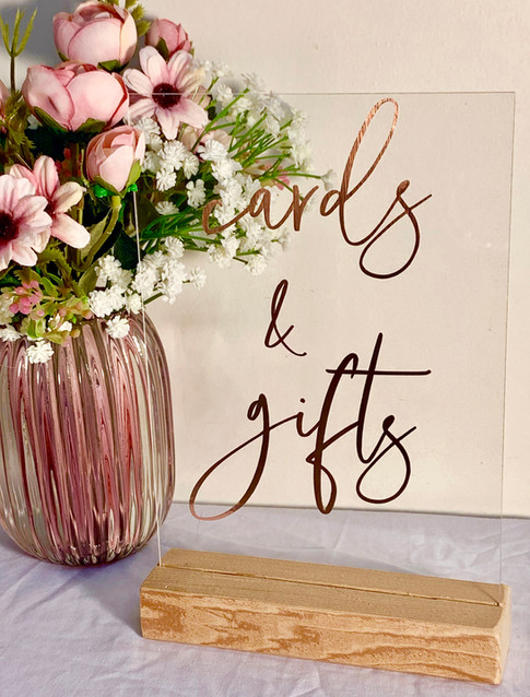 Arcylic Cards & Gifts sign
