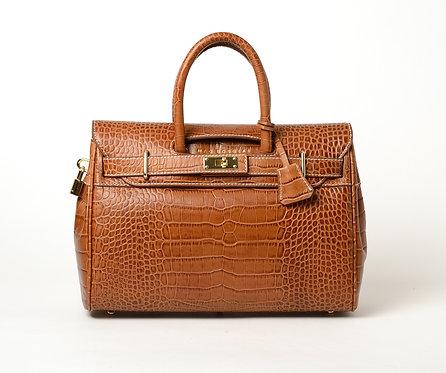 Pyla Romy, petit sac à main cuir grain croco mat