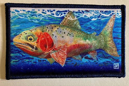 Cutthroat trout patch with Navy Blue merrow
