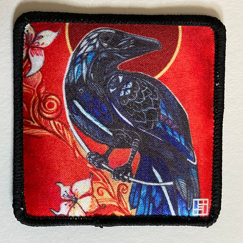 Red Raven Patch with Black merrow