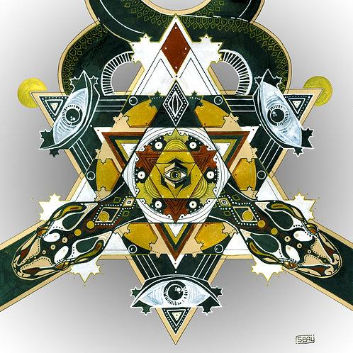 """Serpentine Dreams Mandala Print 12"""" x 12"""""""