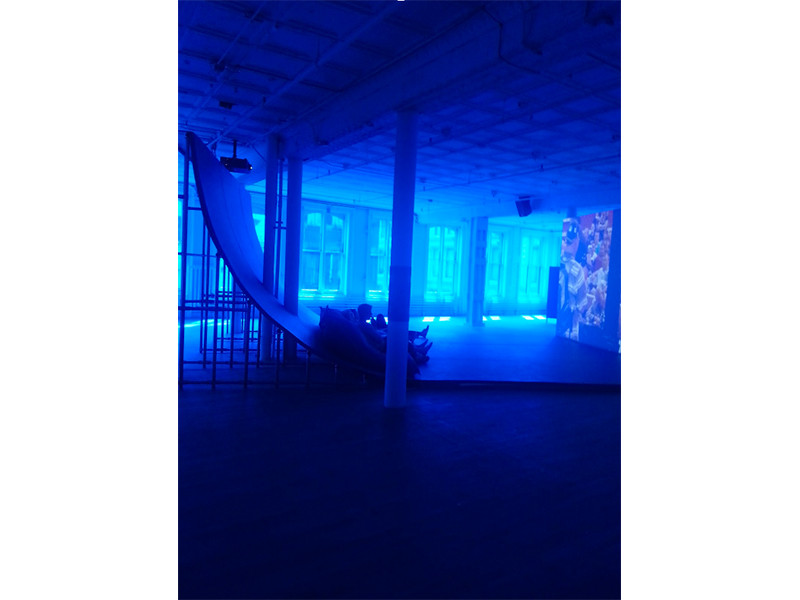 Installation view of Hito Steyerl's Liquidity Inc, at Artists Space, SoHo, Spring 2015