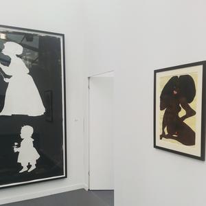 Kara Walker and Chris Ofili. Installation view at Victoria Miro Gallery, Frieze New York 2015.