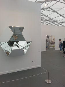 Doug Aitken, Glass Horizon (hexagon), 2014. Wood, steel, mirror and clear glass, and mounted c-prints 53 x 60 1/4 x 22 1/2 inches edition of 4 303 Gallery, Frieze New York 2015.