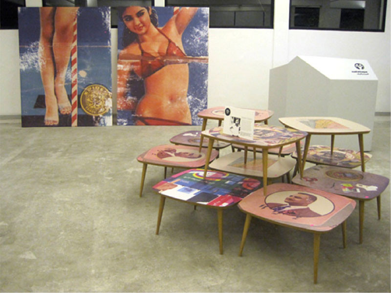 Figure 6. Rana Salam, Arab Pin-up commercial mishmaoul.com works, 2010. View of 'Capturing Culture', design exhibition by the Beirut Art Center.