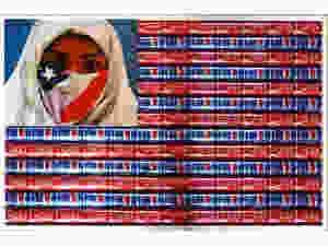 Figure 2. Hassan Hajjaj, S.U.S.A, Salam United States of America, 2011, Digital C-Type print and frame with aluminium cans, 73x108 cm. Courtesy of Escape Into Life, Photography Database.