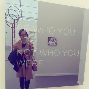 Jeppe Hein, BE WHO YOU ARE NOT WHO YOU WERE, 2014. Powder coated aluminum, neon tube, two-way mirror, powder coated steel, transformers 39 1/2 x 39 1/2 x 4 1/4 inches edition of 3 303 Gallery at Frieze New York 2015.