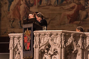 Deaf Lay Reader signed a lesson at Cathedral of Saint John, the Divine., NYC