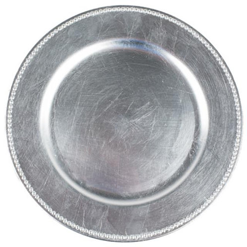 "CHARGER PLATE, SILVER 12"" ACRYLIC"