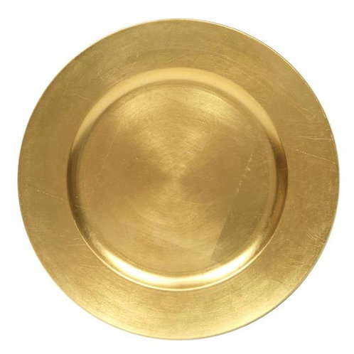 "CHARGER PLATE, GOLD 12"" ACRYLIC"