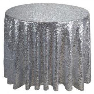 """Linen, 120"""" Silver Sequin"""