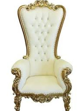 Throne Chair, Ivory W/ Gold Trim