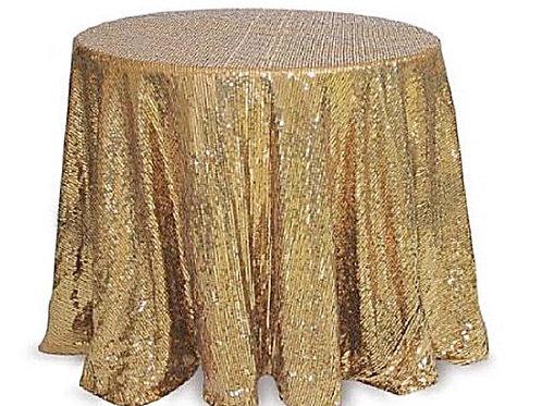 """Linen, 120"""" Gold Sequin"""