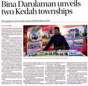 Bina Darulaman Unveils Two Kedah Townships