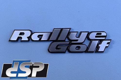 "Logo arrière ""Rallye golf"" finition inox brossé"