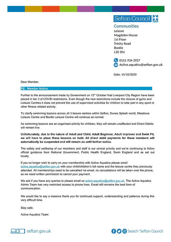 Active Aquatics Member Notice (14th Octo