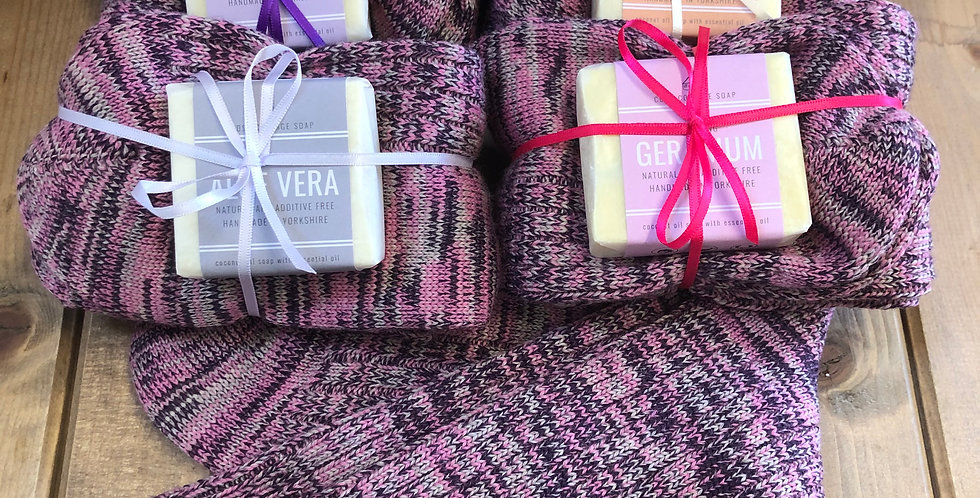 Men's & Women's Soap & Sock Gift Set
