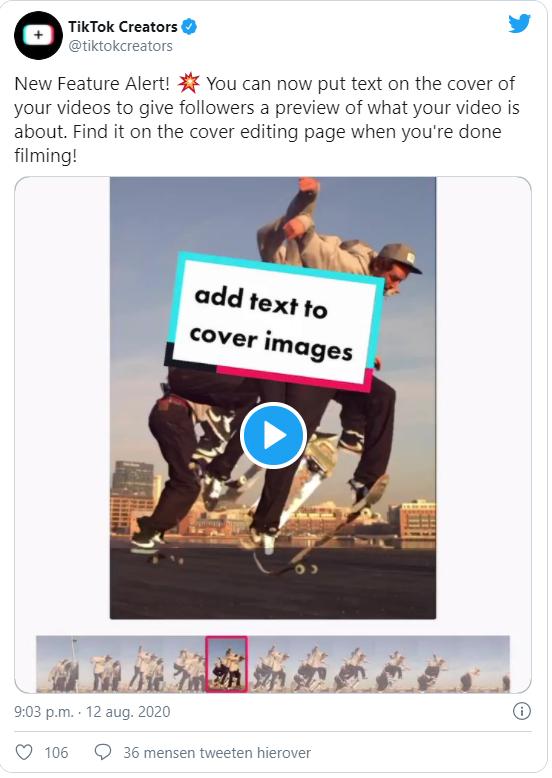 TikTok Thumbnail tekst