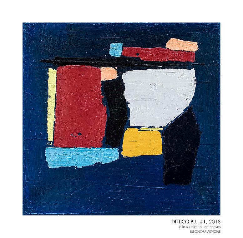 """Quadro astratto di Eleonora Arnone, titolo """"Dittico Blu 1"""", anno 2018 - olio su tela - 25x25cm - sfondo blu intenso e macchie di dimensioni e forme diverse  di colore Bordeaux, rosa, azzurro, nero, grigio, senape, giallo limone chiaro"""