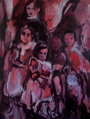 Feast scene,220x180 oil on canvas, 2021