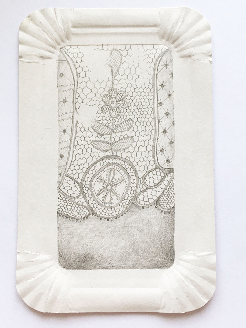 Torn lace on paper tray
