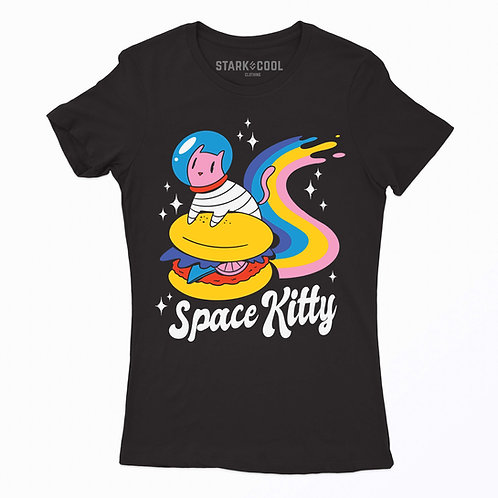 Playera Blusa Gato Space Kitty Astronauta para Mujer