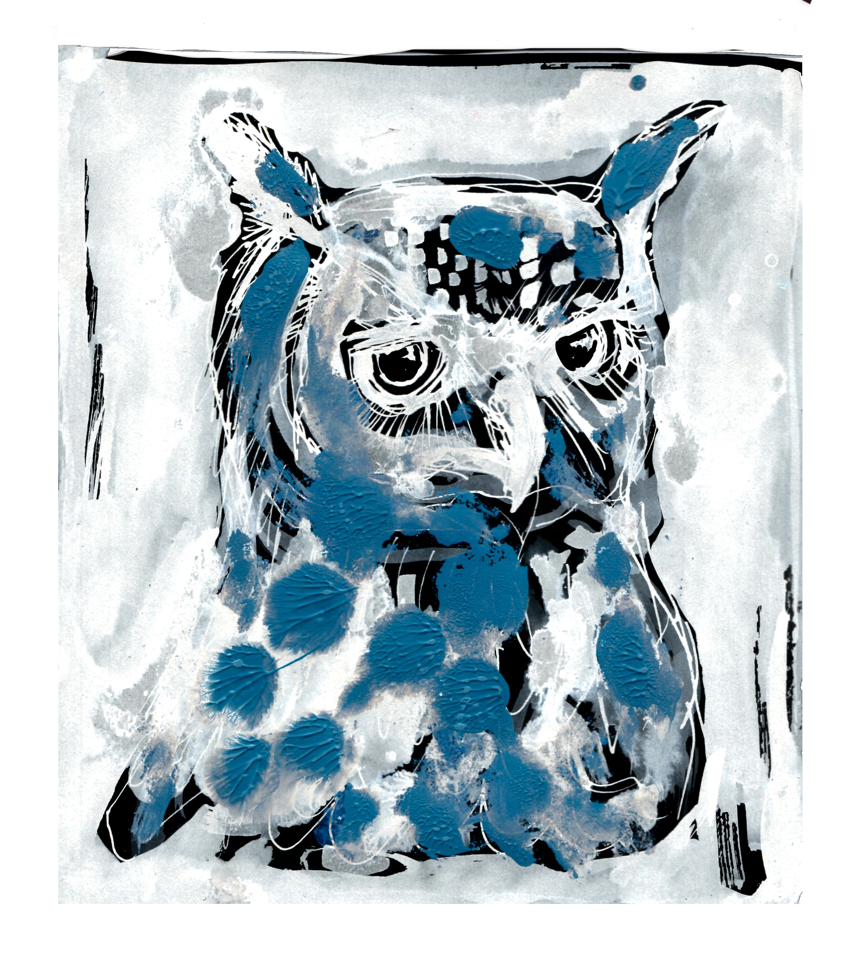 Blue and White Owl