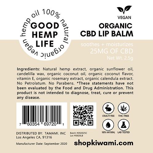 CBD Lip Balm for Vegan - Isolate, 25 mg