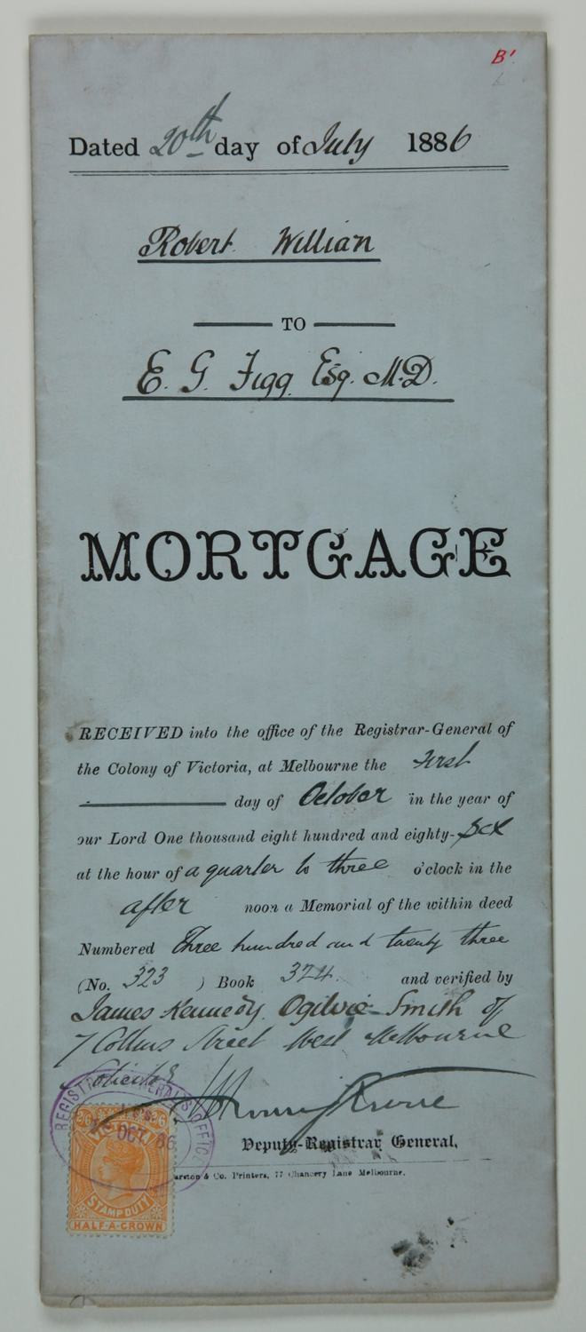 Mortgage Stamp Duty 1886