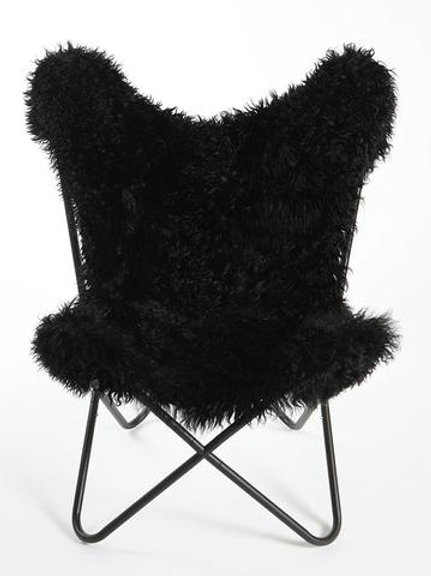 Curly Goatskin Butterfly Chair