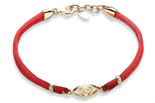 14K Yellow Gold EVIL OF EYE/Red String Bracelet