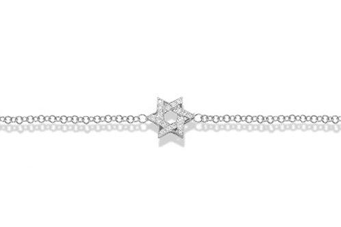 """14K White Gold STAR OF DAVID/""""MAGEN DAVID"""" Bracelet"""