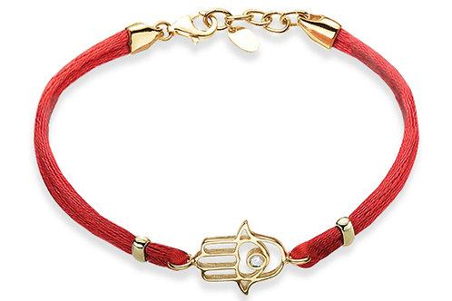 14K Yellow Gold HAND OF GOD/Red String Bracelet