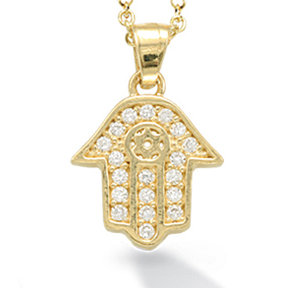 """14K Yellow Gold """"HAMSA"""" (Hand of God) and Star of David Necklace"""