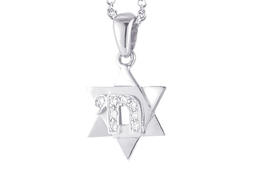"14K White Gold STAR OF DAVID/""MAGEN DAVID/CHAI"" Necklace"