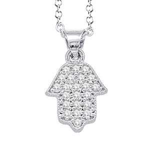 "14K White Gold ""HAMSA"" (Hand of God) Necklace"
