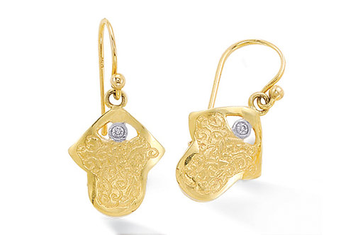 "14K Yellow Gold HAND OF GOD/""HAMSA"" Earrings"