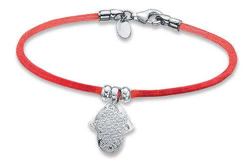 14K White Gold HAND OF GOD/Red String Bracelet