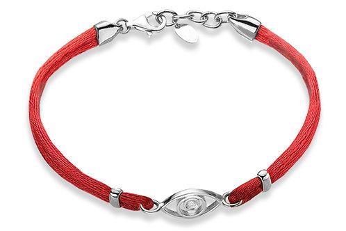 14K White Gold EVIL OF EYE/Red String Bracelet