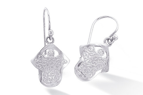 "14K White Gold HAND OF GOD/""HAMSA"" Earrings"