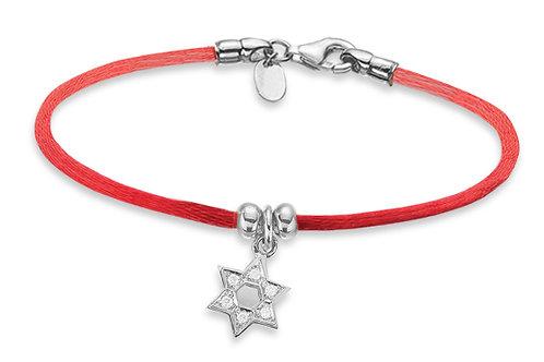 14K White Gold STAR OF DAVID/Red String Bracelet