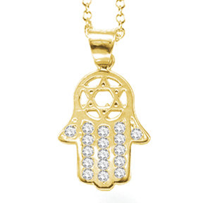 "14K Yellow Gold ""HAMSA"" (Hand of God) Necklace"