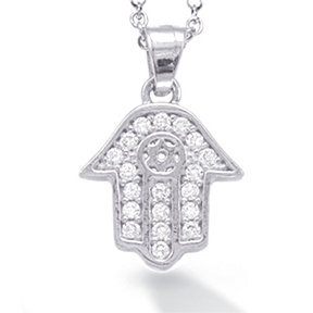 "14K White Gold ""HAMSA"" (Hand of God) and Star of David Necklace"