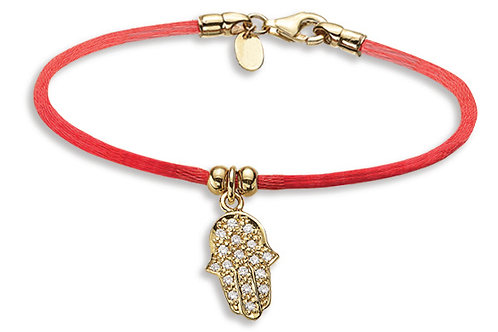 14K Yellow Gold HAND OF GOD/Red String Bracelet