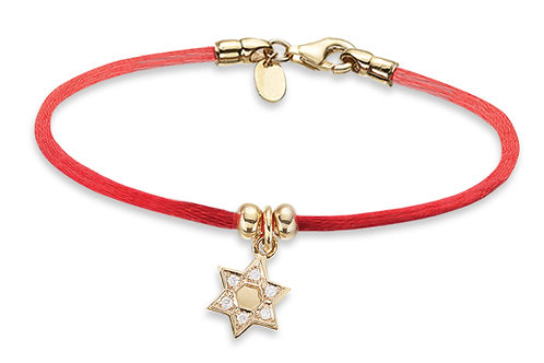 14K Yellow Gold STAR OF DAVID/Red String Bracelet