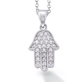 "14K White Gold ""HAMSA"" (Hand of God) Necklace"