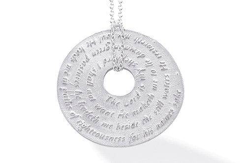 14K White Gold PSALM OF DAVID (PSALM 23) Necklace